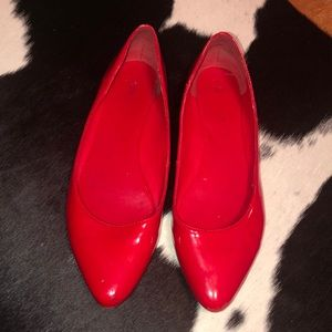 Nine West cherry red patent leather flats, 6.5